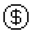 pixel dollar icon vector image vector image