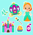 princess stickers for party invitations vector image vector image