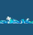 sea wave paper cut seamless wallpaper vector image vector image