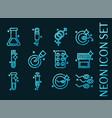 set artificial insemination glowing neon icon vector image