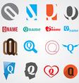 Set of alphabet symbols of letter Q vector image vector image