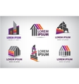 set of colorful buildings houses logos vector image vector image
