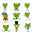 set of green frogs in different poses and with vector image
