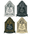 set ornate hand-drawn labels for wine vector image vector image