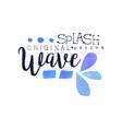 splash wave logo original design aqua label vector image vector image