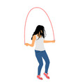 sport girl skipping with jump rope isolated vector image vector image