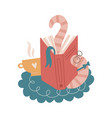 tired funny bookworm stretching itself fter vector image vector image