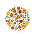 top view pizza ingredients in the circle vector image vector image