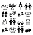 Twin babies icons set - double pram twins vector image vector image