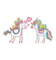 unicorns in love vector image vector image