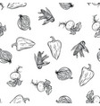 vegetable doodle pattern hand drawing on white vector image