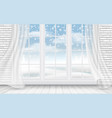 view of the winter landscape through the window vector image vector image