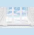 view winter landscape through window vector image vector image