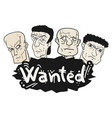 wanted message design vector image
