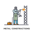 welder makes a metal frame vector image vector image