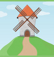 windmill on a hill and blue sky colored doodle vector image