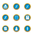 writing ink icons set flat style vector image vector image