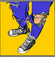 young human on blue jeans and sneakers vector image vector image