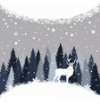 Background with winter forest snow and deer vector image