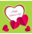 Valentines day card with paper hearts vector image