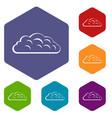 autumn cloud icons set hexagon vector image vector image