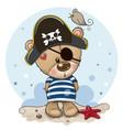 bacartoon teddy bear in sailor costume vector image vector image