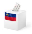 Ballot box with voting paper Liechtenstein vector image vector image