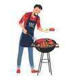barbecue and man with plate vector image vector image
