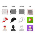 baseball cap player and other accessories vector image vector image