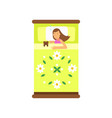 beautiful teen girl sleeping in her bed with toy vector image