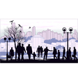 black silhouettes of people on town outline vector image