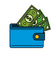 blue wallet with green dolars bills inside vector image