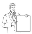 businessman holds poster coloring book vector image