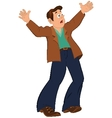 Cartoon man with open mouth holding hands up vector image vector image