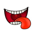 cartoon smile mouth lips with teeth and tongue vector image