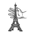 child playing with eiffel tower engraving vector image vector image