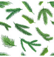 christmas green tree branches pattern decorative vector image