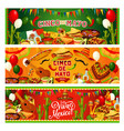 cinco de mayo mexican holiday guitar and sombrero vector image vector image