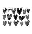 collection hearts with doodles lines vector image
