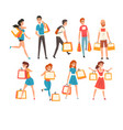 collection people with shopping bags men and vector image vector image