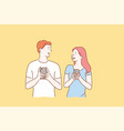 concept a young couple in love excited man and vector image