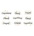 congrats lettering congratulation text labels vector image