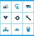 construction icons colored set with sawmill vector image
