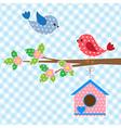 couple birds and birdhouse vector image vector image