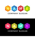 creative four hexagon honeycomb comet logo bright vector image
