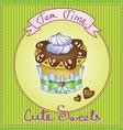 cute cake card vector image