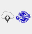 dotted medical cloud icon and grunge global vector image vector image