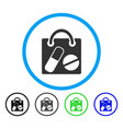 drugs shopping bag rounded icon vector image