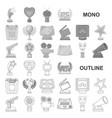 film awards and prizes monochrom icons in set vector image vector image