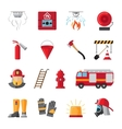 Firefighting equipment flat icons